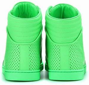 Gucci Neon Leather High top Sneakers in Green