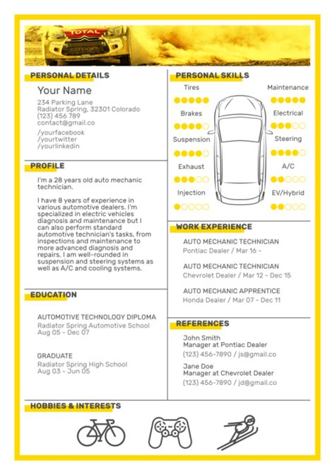 Mechanic Resume Template by 6 Free Resume Templates For Auto Mechanics To Stand Out