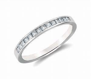 channel set princess cut diamond ring platinum With channel set diamond wedding ring