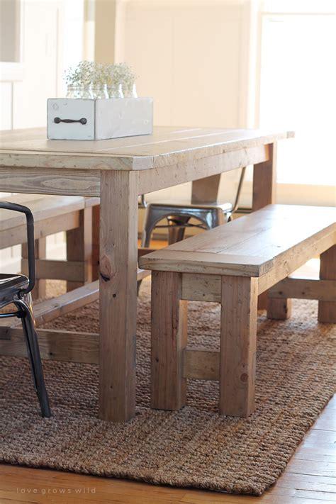 farmhouse table with bench diy farmhouse bench grows