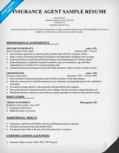 Insurance agent resume sample insurance internships for Insurance resume template