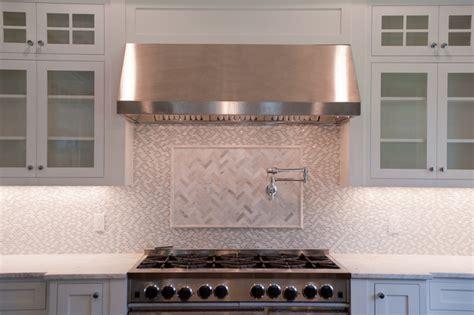 marble herringbone tile transitional kitchen