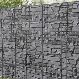 Sichtschutz Doppelstabmatten Steinoptik : 35m sichtschutz zaunfolie stein grau pvc windschutz doppelstabmatten ebay ~ Orissabook.com Haus und Dekorationen