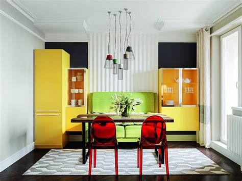 kitchen and dining room ideas bright multicolor apartment in mid century modern style