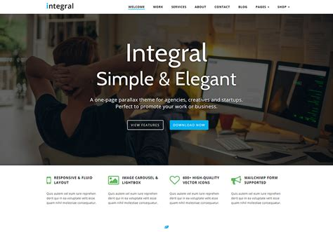 integral responsive  page parallax wordpress theme