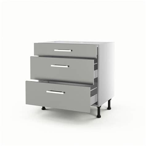 meuble bas cuisine hauteur 80 cm meuble de cuisine bas gris 3 tiroirs délice h70xl80xp56