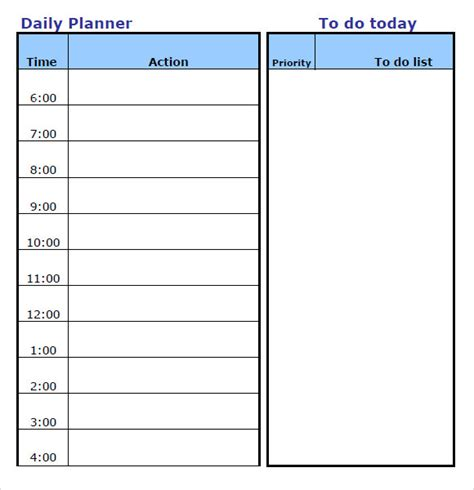 daily planner templates  google docs ms word