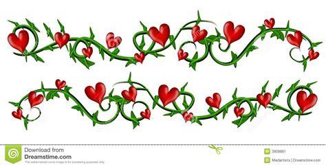 Vine With Valentine Hearts Borders Stock Illustration ...