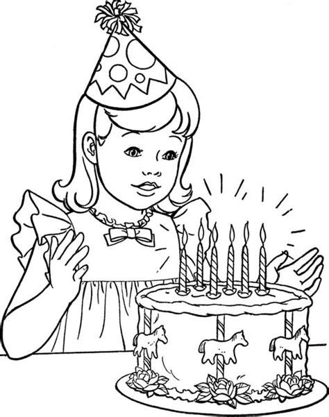 girl  happy birthday cake coloring page color luna