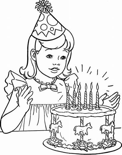 Coloring Birthday Cake Happy Pages Drawing Printable