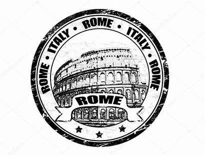 Rome Stamp Colosseum Clipart Vector Italy Shape