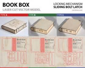 wooden book box  sliding bolt latch vector model