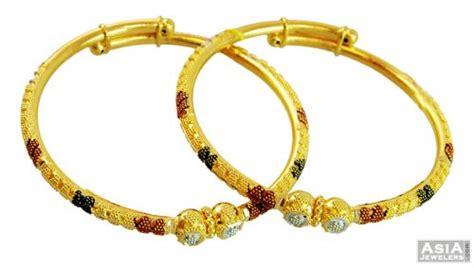 22k designer 3 tone baby kadas 2 ajba57707 22k gold baby bangles kadas pair beautifully