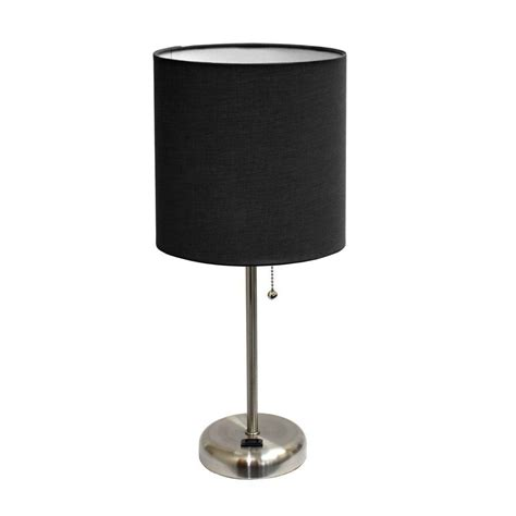 table ls with outlets in base limelights 19 5 in brushed steel stick table l with