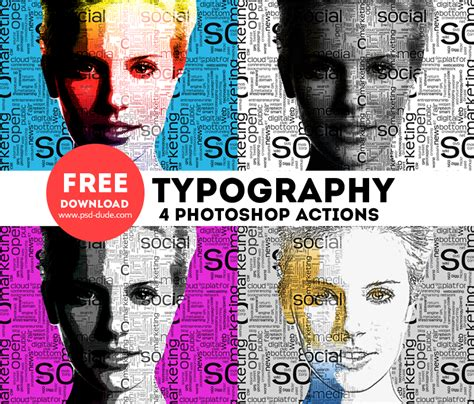 typography portrait photoshop free actions psddude