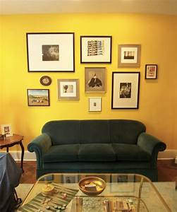 Design interior living room with awesome yellow wall and