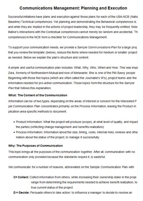 Communication Plan Template For Project Management by Project Management Communication Plan Template 7 Free