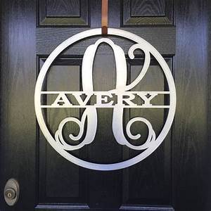 metal monogram family name door hanger approx 24 round With outdoor metal monogram letters