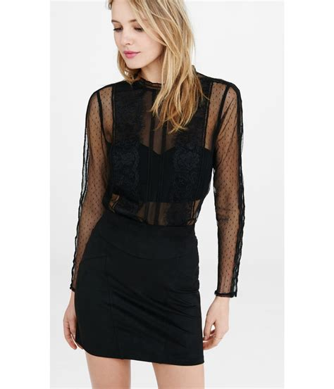 lace blouse express lace and mesh blouse with bandeau lyst