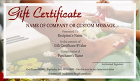 beauty  nail salon gift certificate templates easy