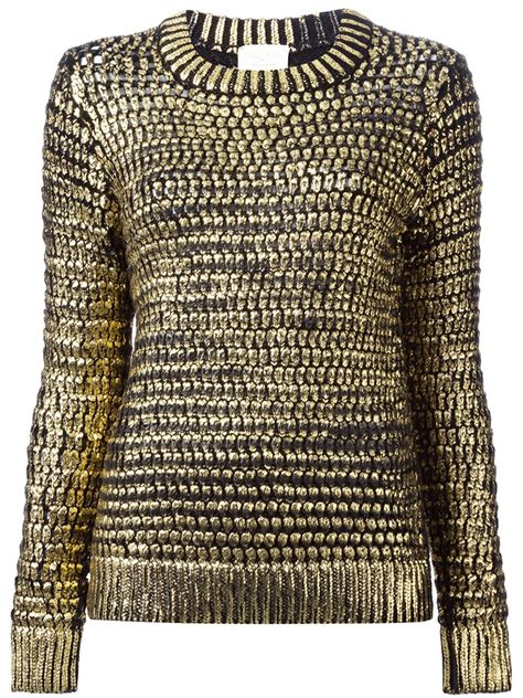Lyst Forte Forte Open Knit Sweater In Metallic