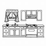 Coloring Kitchen Pages Cabinet Utensils Template Templates Drawer Colornimbus sketch template