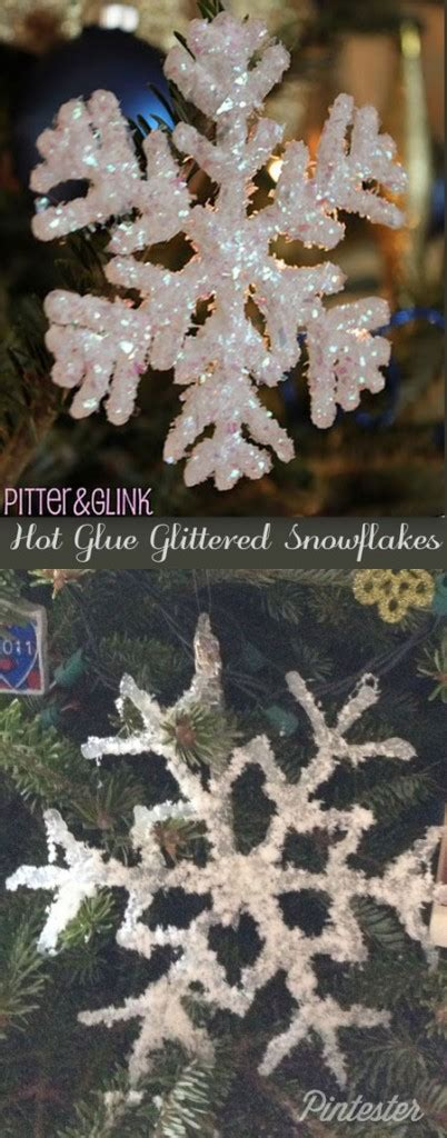 hot glue glitter snowflake pintester