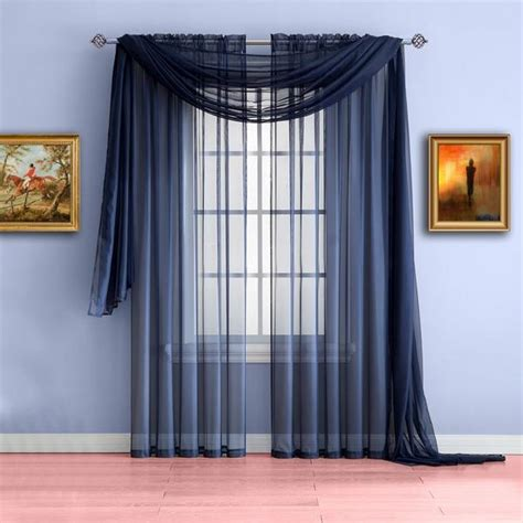 Blue Draperies - warm home designs navy blue window scarf valances sheer