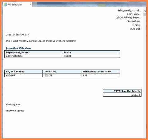 Template Basicp by 5 Basic Payslip Template Word Salary Slip
