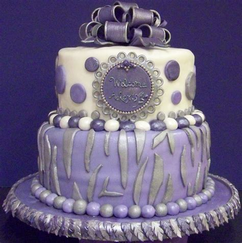 zebrapolka dot themed baby shower cake  lavender lilac