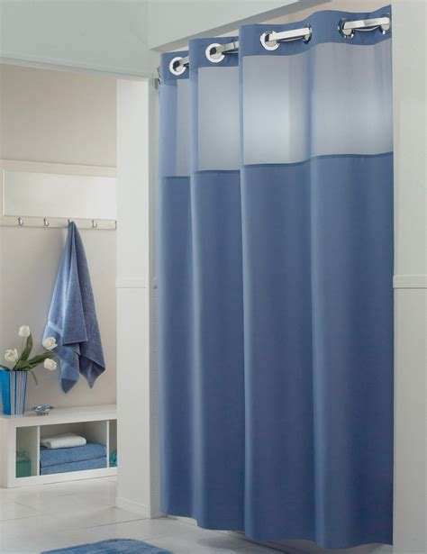 hookless shower curtain blue