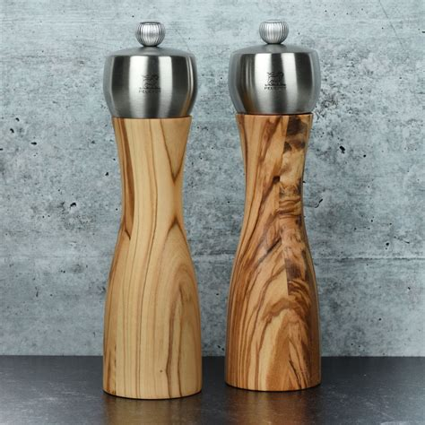 peugeot fidji   olive wood salt pepper mill set cutlery