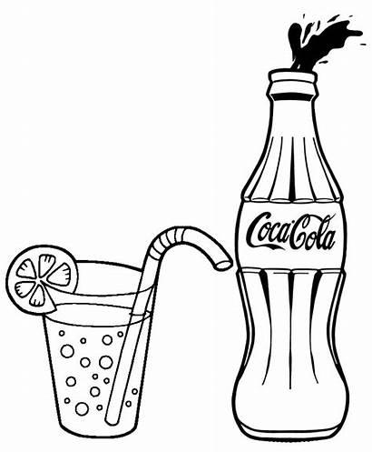 Cola Coca Coke Coloring Bottle Drawing Soda