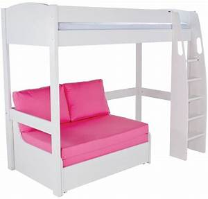 buy stompa white high sleeper frame with pink double sofa With sleeper sofa bed frame