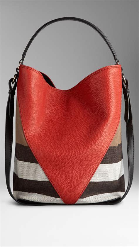 lyst burberry medium canvas check leather chevron hobo bag  red