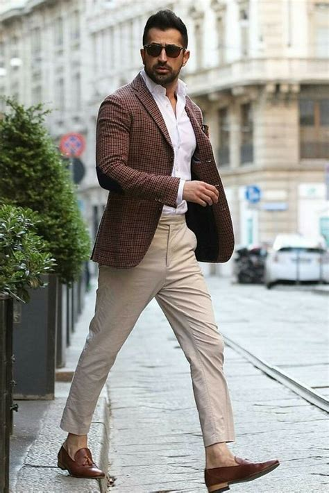 classy brown jacket khaki chinos brown loafers mens