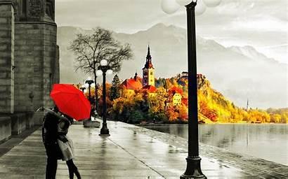 Autumn Rain Street Kiss Wet Lake Umberella