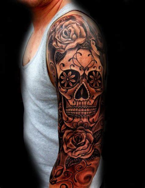 sugar skull  rose flower tattoo  full sleeve