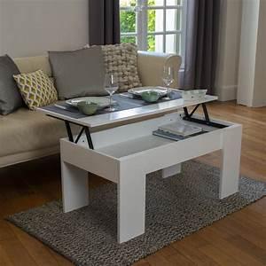 Table Basse Blanc Bois : table basse avec plateau relevable bois blanc laqu meubles et am ~ Teatrodelosmanantiales.com Idées de Décoration