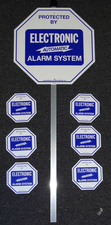 security system alarm yard lawn sign stake   door