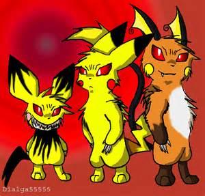 Evil Pichu Pikachu Raichu