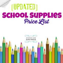 School Supplies Price List