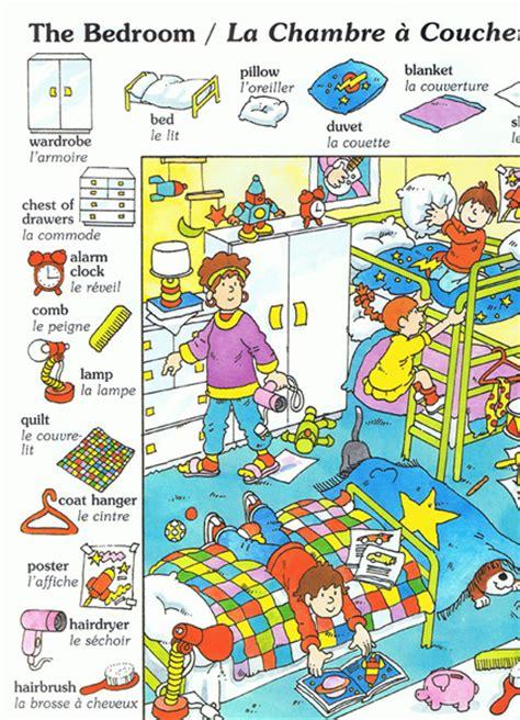 vocabulaire de la chambre imagier bilingue français anglais