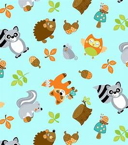 Nursery Fabric- Woodland Friends Tossed Teal Jo-Ann