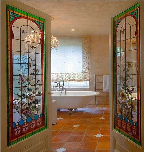bathroom  interior stained glass french doors home