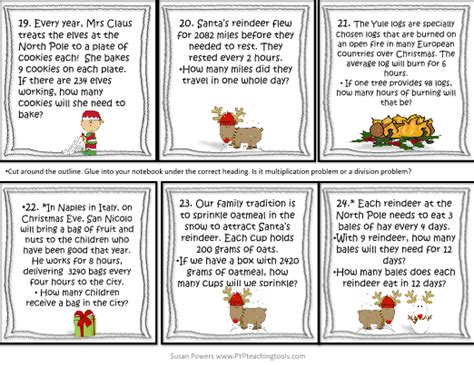 christmas multiplication division word problems