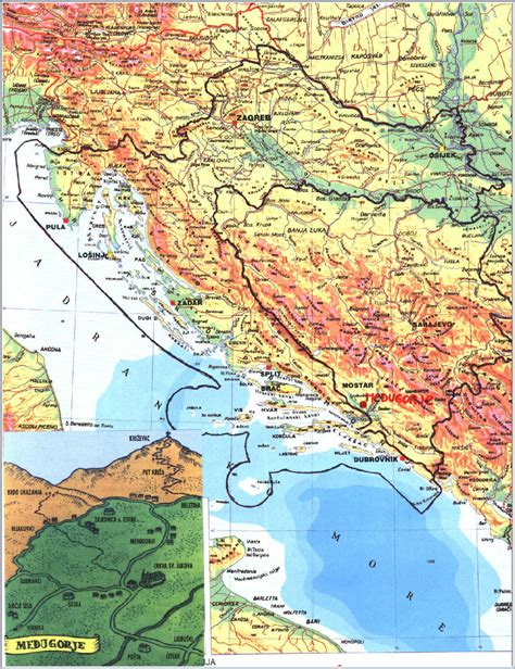 Medjugorje Map Maps Of Surrounding Mostar Bosnia And