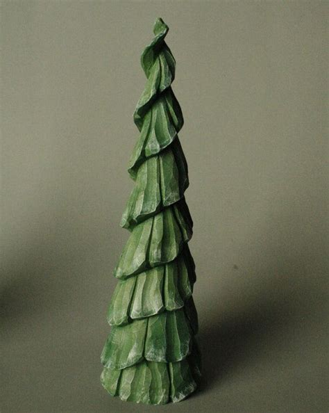 carved wooden tree wood pine tree christmas tree 7 inchs