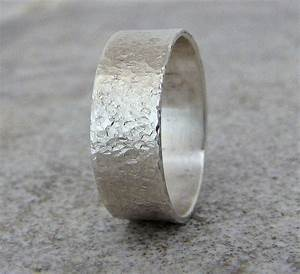 mens silver ring hammered mens wedding band rustic by With mens hammered wedding ring