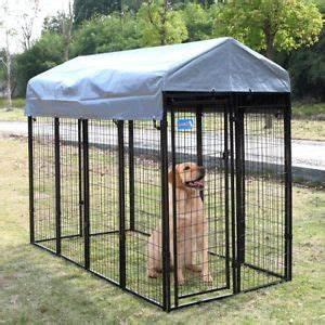 dog kennel outdoor steel wire cage pet pen cover shade run With large outdoor dog kennel with cover